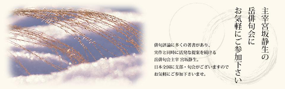 主宰宮坂静生の岳俳句会にお気軽にご参加下さい。俳句評論に多くの著書があり、実作と同時に活発な提案を続ける岳俳句会主催宮坂静生。日本全国に支部・句会がございますので、お気軽にご参加下さいませ。